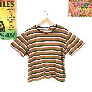 Vintage 1990s boxy retro striped t-shirt XL/XXL